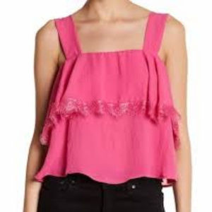 CAD Pink Popover Lace Trim Tank Top Flowy Rasberry